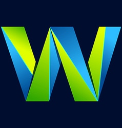 W letter line colorful logo Abstract trendy green vector