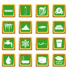 Water icons set green vector