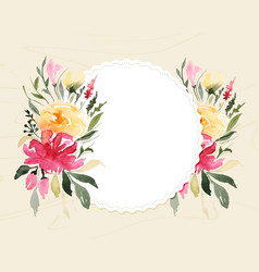 Watercolor floral flower on white frame with text vector