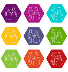 wedding icons set 9 vector image