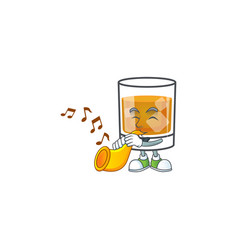 Whiskey with character with trumpet on white vector