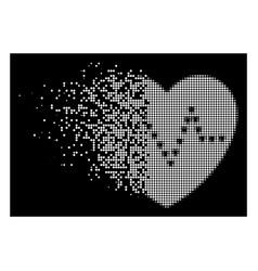 White fractured dotted halftone dotted heart pulse vector