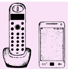 wireless home telephone and cell phone vector image