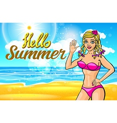 woman on the beach blonde in a pink bikini on a vector image