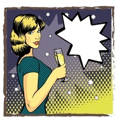 Woman with wine glass in pop art retro style vector