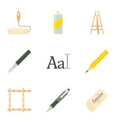 artist equipment icons set cartoon style vector image