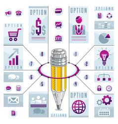 Creative infographics concept pencil centered vector