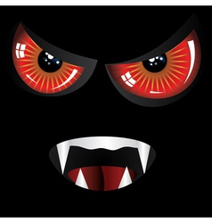 Evil face with red eyes vector image
