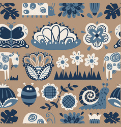 floral seamless pattern with animals and insects vector image vector image