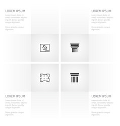Icon building set of ornate paper template and vector