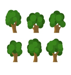Set of Different Green Trees Icons vector image vector image