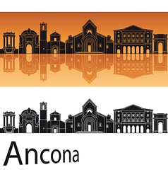 Ancona skyline in orange background vector image