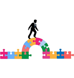 Business person puzzle bridge to solution vector image