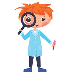cartoon scientist and magnifying glass vector image