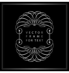 Vintage calligraphic silver frame modern swirl vector