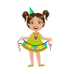 girl with garland part of kids at the birthday vector image vector image