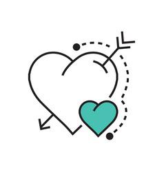 Line heart and arrow blue vector