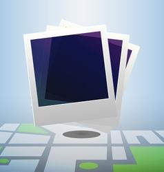 Polaroid icon on block street map vector image