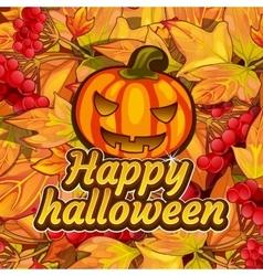 Pumpkin carving symbol of happy halloween vector