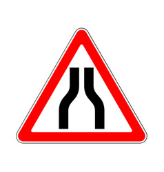 Road sign warning road narrows on white background vector