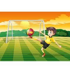 A girl kicking the ball with the Sri Lanka flag vector image