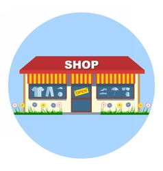 Digital shop storefront with open sign vector image