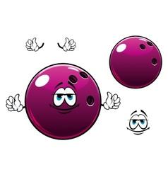 Glossy bowling ball cartoon mascot character vector