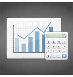 Graph with Calculator vector image vector image