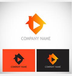 house play button logo vector image