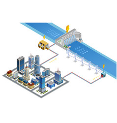 Hydroelectric Station Isometric Poster vector image