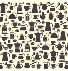 seamless pattern collection icons coffee pots vector image vector image