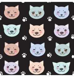 seamless pattern funny cat muzzle and paw prints vector image