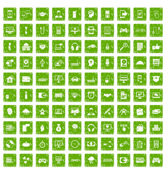 100 programmer icons set grunge green vector image