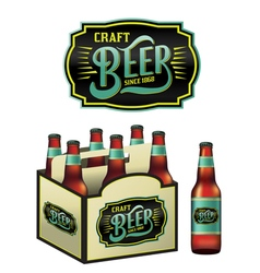6 pack craft beer and bottle vector