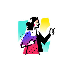 a fashionable girl businesswoman icon abstract vector image