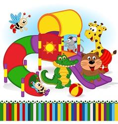 Animals at playground vector
