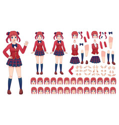 Anime girls character kit cartoon school girl vector