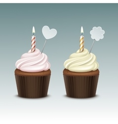 Birthday cupcake with whipped cream and candle vector