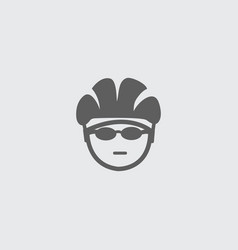 Black biker head icon with helmet and glasses vector
