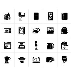 Black kitchen appliances and kitchenware icons vector