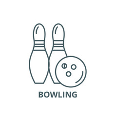 bowling line icon bowling outline sign vector image