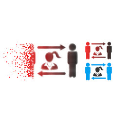 broken pixel halftone swingers exchange woman icon vector image