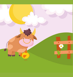 bull and chicken wooden fence flower hills sun vector image
