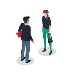 businessman and woman meeting vector image
