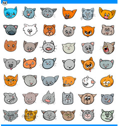 cartoon cats and kittens icons large set vector image