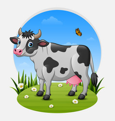 cartoon cow on green meadow vector image