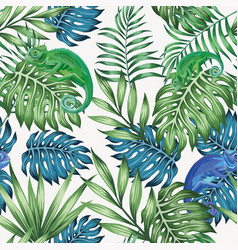 chameleon blue and green tropical leaves seamless vector image