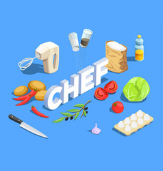 chef cook isometric background vector image