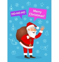 Christmas card with cartoon santa claus vector