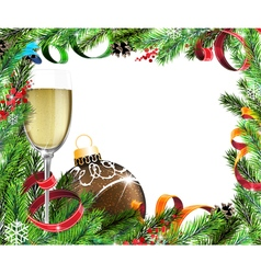 Christmas wreath with Glass of champagne and brown vector image